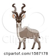 Clipart Of An Alert Kudu Royalty Free Vector Illustration