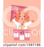 Clipart Of A Ginger Veterinarian Cat Holding The Roof Of A Clinic Royalty Free Vector Illustration