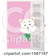Clipart Of A White Veterinarian Cat Holding A Clipboard Around A Door Royalty Free Vector Illustration