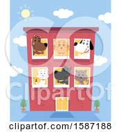 Clipart Of A Busy Pet Boarding Hotel Royalty Free Vector Illustration