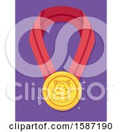 Clipart Of A Gold Medal Ribbon With A Cat Face Royalty Free Vector Illustration