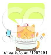 Ginger Cat Holding A Smart Phone And Talking