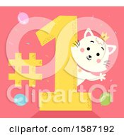 Clipart Of A Princess Cat Waving Around A Number One Royalty Free Vector Illustration