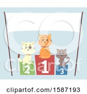 Clipart Of A Placement Podium With Cats Under A Banner Royalty Free Vector Illustration