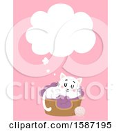 Clipart Of A White Cat Dreaming In A Bed Royalty Free Vector Illustration