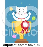 Clipart Of A White Cat In A First Place Trophy Cup Royalty Free Vector Illustration