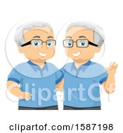 Clipart Of Matching Senior Twin Men Royalty Free Vector Illustration