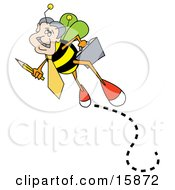 Busy Worker Bee Carrying A Pencil And A Briefcase On His Way To Work
