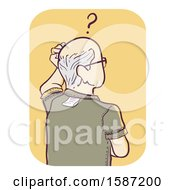 Clipart Of A Senior Man Wearing His Shirt Inside Out Royalty Free Vector Illustration