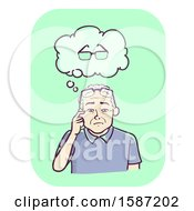 Clipart Of A Senior Man Thinking About The Eyeglasses He Lost But Is Currently Wearing Royalty Free Vector Illustration