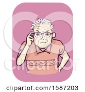Clipart Of A Senior Man Holding His Eyeglasses And Squinting Royalty Free Vector Illustration