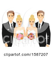 Clipart Of Twin Brides And Grooms Royalty Free Vector Illustration