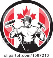 Clipart Of A Retro Strong Male Painter Or Handy Man In A Canadian Flag Circle Royalty Free Vector Illustration