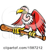 Clipart Of A Tough Condor Vulture Flying And Gripping A Baseball Bat Royalty Free Vector Illustration