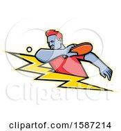 Clipart Of A Ping Pong Player Over A Lightning Bolt Royalty Free Vector Illustration