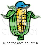 Clipart Of A Corn On The Cob Mascot Wearing A Baseball Cap Royalty Free Vector Illustration