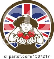 Poster, Art Print Of Retro Happy Tomato Farmer Holding Tomatoes In A Union Jack Flag Circle