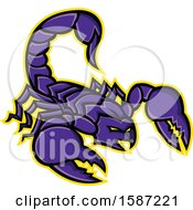 Clipart Of A Tough Purple Scorpion Mascot With A Yellow Outline Royalty Free Vector Illustration