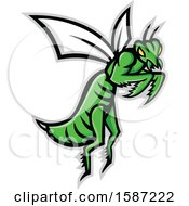 Clipart Of A Tough Flying Green Praying Mantis Royalty Free Vector Illustration