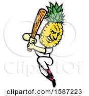 Poster, Art Print Of Pineapple Headed Baseball Player Mascot Batting