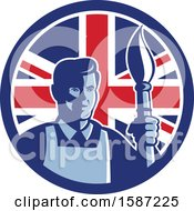Poster, Art Print Of Retro Male Artist With A Paintbrush In A Union Jack Flag Circle