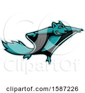 Clipart Of A Tough Flying Squirrel Mascot Royalty Free Vector Illustration by patrimonio