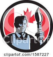 Clipart Of A Retro Male Artist With A Paintbrush In A Canadian Flag Circle Royalty Free Vector Illustration