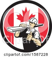 Poster, Art Print Of Retro Male Carpenter Holding A Thumb Up And Carrying Lumber In A Canadian Flag Circle
