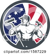 Poster, Art Print Of Retro Strong Male Painter Or Handy Man In An American Flag Circle