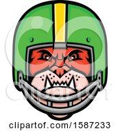 Clipart Of A Tough Bulldog Mascot Head In A Football Helmet Royalty Free Vector Illustration