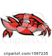 Clipart Of A Tough King Crab Mascot Royalty Free Vector Illustration