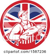 Poster, Art Print Of Retro Fishmonger In A Union Jack Flag Circle