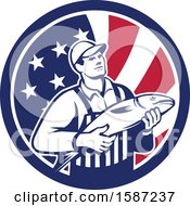 Poster, Art Print Of Retro Fishmonger In An American Flag Circle