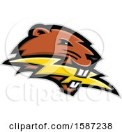 Beaver Mascot Head Biting A Lightning Bolt