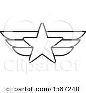 Clipart Of A Lineart Winged Star Royalty Free Vector Illustration