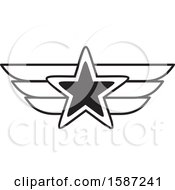 Clipart Of A Black And White Winged Star Royalty Free Vector Illustration