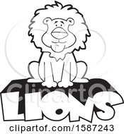 Clipart Of A Black And White Sitting Male Lion Mascot On Text Royalty Free Vector Illustration by Johnny Sajem