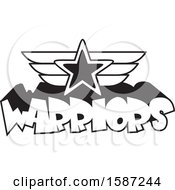 Clipart Of A Black And White Winged Star Over Warriors Text Royalty Free Vector Illustration