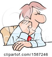 Clipart Of A Cartoon White Business Man Daydreaming At His Desk Royalty Free Vector Illustration by Johnny Sajem