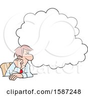 Clipart Of A Cartoon White Business Man Daydreaming Under A Cloud At His Desk Royalty Free Vector Illustration