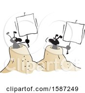 Clipart Of Black Ants Holding Blank Signs From Their Hills Royalty Free Vector Illustration