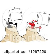 Clipart Of Black And Red Ants Holding Blank Signs From Their Hills Royalty Free Vector Illustration