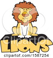Clipart Of A Sitting Male Lion Mascot On Text Royalty Free Vector Illustration