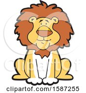 Clipart Of A Sitting Male Lion Mascot Royalty Free Vector Illustration