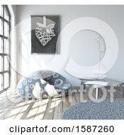 Clipart Of A 3d Living Room Interior With A Bean Bag Chair Royalty Free Illustration