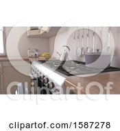Clipart Of A 3d Kitchen Interior Royalty Free Illustration