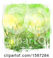 Green Watercolor Styled Background Of Grass