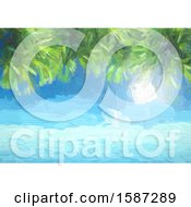 Painted Background Of The Ocean And Palm Tree Branches
