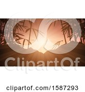Clipart Of A Background Of Silhouetted Bamboo And Hills At Sunset Royalty Free Vector Illustration by KJ Pargeter