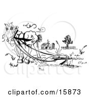 Black And White Drawing Of A Horse Pulling A Plow In A Pasture Clipart Illustration